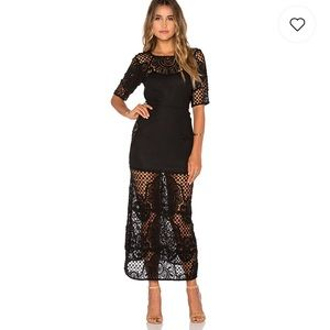 For Love and Lemons Gracey Black Lace Midi